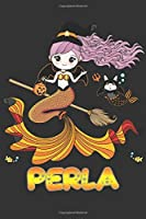 Perla: Perla Halloween Beautiful Mermaid Witch Want To Create An Emotional Moment For Perla?, Show Perla You Care With This Personal Custom Gift With Perla's Very Own Planner Calendar Notebook Journal
