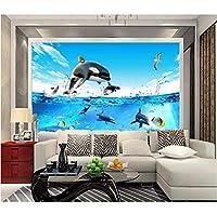 Wuyyii 3D部屋の壁紙カスタム写真壁画深海魚水族館イルカ絵の装飾絵画3D壁壁画壁紙用壁3 D