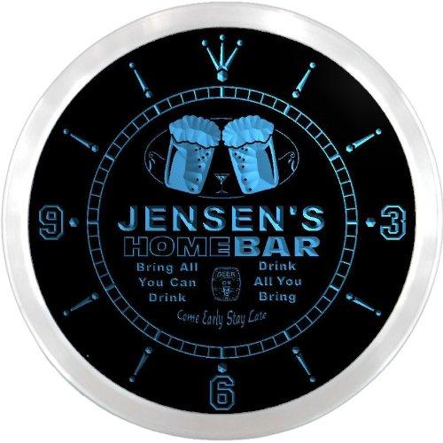 LEDネオンクロック 壁掛け時計 ncp1259-b JENSEN'S Home Bar Beer Pub LED Neon Sign Wall Clock