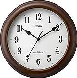 CITIZEN ( シチズン ) 電波 掛け時計 ネムリーナクイット 小型 木 茶 (半艶仕上げ) 4MYA29-006