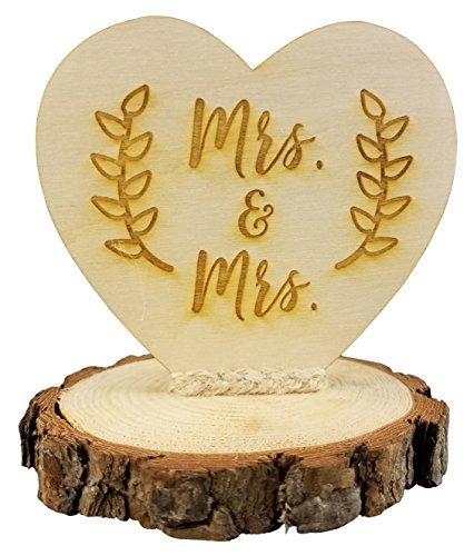 Rustic Mrs. & Mrs. Gay Lesbian Wedding Cake Topper [並行輸入品]