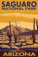 サワロ国立公園国立公園、アリゾナ 24 x 36 Signed Art Print LANT-33330-710