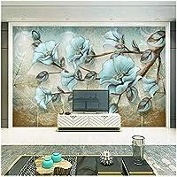 Xbwy 写真の壁紙3D手描きの花壁画リビングルームテレビソファ背景壁画ヨーロッパスタイル-150X120Cm