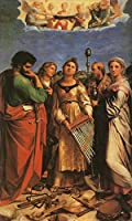 手描き-キャンバスの油絵 - St Cecilia with Sts Paul John Evangelists Augustine and Mary Magdalene ラファエル Famous 芸術 作品 洋画 -サイズ15