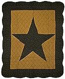 Great Finds 0302 midnight Star Primitive Pattern Stripes &Stars Throw Blanket, Black/Gold/Sage [並行輸入品]