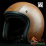 バイクヘルメット ハーフ ハーレー レトロ パイロット ヘルメット ジェット PSCマーク付き 18色入り[16.ブラウン・革/XXL]