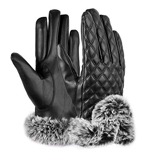 VBIGER スマホ 手袋 レディース レザー手袋 革 裏起毛 冬 保温 暖かい ファー付 アウトドア タッチパネル グローブ(ブラック)