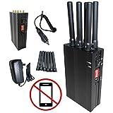【迷惑通信妨害】超強化型 6本アンテナ電波遮断機 Wi-Fi(強弱機能付)、GPS、3G、4G…etc.対応! 【日本語説明書付き】