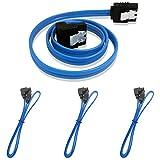 【3本セット】SATA 3ケーブル 下L型 45cm ブルー