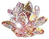 クリスタル ガラス 置物 カラフル 蓮の花 インテリア 花 ハス 風水 開運 サンキャッチャー (レッド)