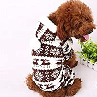 の工場価格!ソフト暖かいペット犬子犬冬服スノーフレーク鹿プリントパーカージャンプスーツ:コーヒー、XXL