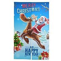 のれん クリスマス 新年 暖簾 ノレン カーテン おしゃれ 間仕切り 遮光 目隠し ロング 断熱 つっぱり棒 突っ張り棒 伸縮棒付き 86*143cm インテリア 喫茶店 居酒屋 飾り付け 装飾