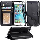 (Arae) iphone 6 ケース 手帳型 iphone 6ケースRoHS規格認定書取得 iphone 6s ケース スタンド機能付き iphone 6sケース マグネット内蔵 アイホン 6s ケース ストラップ付き アイホン 6 ケース 財布型 アイホン6sケース カードポケット付き アイホン6ケース 耐衝撃(ブラック)