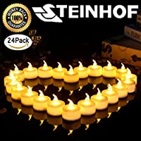 (Transparent Flame Head (24Pack/Set) ) - Flickering LED Tea Lights Flameless Battery Powered Candles Small Electric Tealights Candles Votive Bright Church Decoration Dinner Party Home Holiday Wedding Decoration Unscented Csteinhof