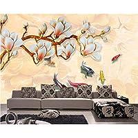 Wuyyii 3 D玉彫刻マグノリア鯉地図背景壁3D壁紙テレビリビング背景壁画壁紙For壁3 D