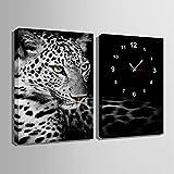 アート時計(ユキヒョウ)でキャンバス壁時計芸術と油絵の壁の芸術の絵画新築祝い 結婚祝い油画 風景画 壁掛け- モダン 置き時計 掛け時計 壁飾り写真(E-HOME)(35CM*50CM)