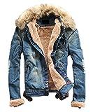 (サラキッド) SaraKid デニム ジャケット ジージャン ファー 付き 裏 ボア 起毛 アウター ヴィンテージ メンズ あったか きれいめ カジュアル デザイン (XLサイズ)