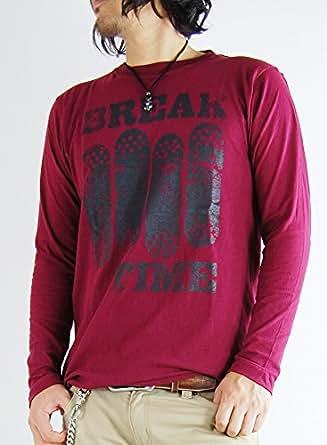 (アーケード) ARCADE アメカジ カレッジロゴ ロンT ロングTシャツ メンズ M B柄ワイン