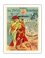 すべてのパリレビュー - ドラマティックシアターフォリ - M.M Blondeau & Monr?al - ビンテージな劇場のポスター によって作成された アルフレッド・チャブラック c.1889 - アートポスター - 51cm x 66cm