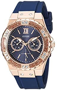 GUESS Women's Stainless Steel + Stain Resistant Silicone Watch with Day + Date Functions ステンレススチール シリコンウォッチ付き (Blue/Rose Gold)