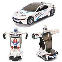 WonderPlay トランスフォーミングカー トイ 2イン1 トラック リアルなロボット 子供用 ジャンプ&ゴーアクション リアルなエンジンサウンド カラフルなライトのおもちゃの車両