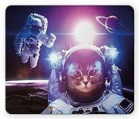 スペースCatマウスパッドby Ambesonne、宇宙飛行士in Nebula Galaxy with Eclipse in Saturn Planetsイメージ、標準サイズ長方形ノンスリップゴムマウスパッド、ダークブルーホワイトとパープル