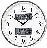 リズム時計 電波 掛け時計 アナログ デジタル フィットウェーブリブ 温度 湿度 カレンダー 表示付 白 RHYTHM 4FYA07SR03