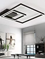 qiuxiハイエンドファッション内部天井ランプRemoter減光LED天井ライト70ワットフラッシュマウントアルミニウムブラックペイントfor Living Roomロビー、暖かいwhite-90–240V
