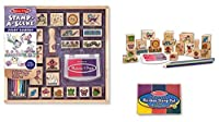 Melissa & Doug Wooden Stamp Set Bundle - Stamp a Scene - Fairy Garden and Bonus Rainbow Stamp Pad by Melissa & Doug
