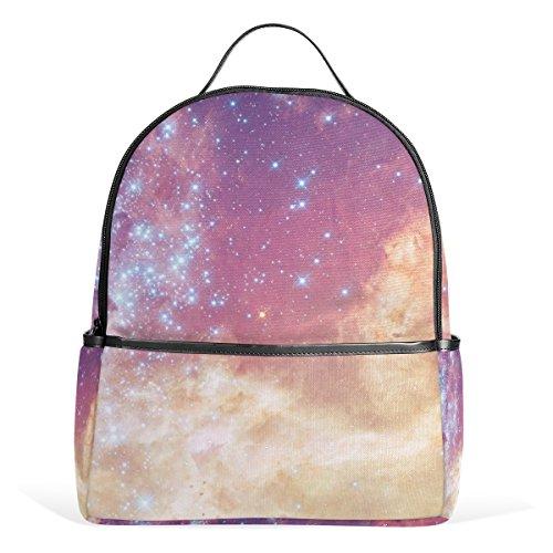 ユキオ(UKIO) バッグパック リュックサック レディース 人気 おしゃれ 美しい星空 ピンク 宇宙柄 5 キャンバス 登山 旅行 通勤 通学 デイパック