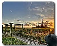 ステッチエッジマウスパッド、ビーチの灯台