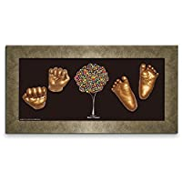 Moms Present 赤ちゃんの手形 足形 GOLD FRAMEで3DプリントDIYキットをキャスティング(G-7-happiness-tree)出産祝い 内祝い ベビー記念品 [並行輸入品]