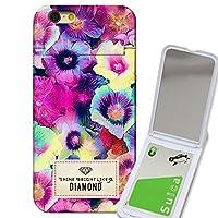 301-sanmaruichi- iPhone6s ケース iPhone6 ケース ミラーケース 鏡付き ミラー付き カード収納 おしゃれ ぼかし花柄 diamond coliction B