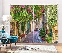 3D遮光カーテンポリエステル視覚空間印刷断熱ソリッドサーマルウィンドウドレープ寝室用リビングルームの装飾、幅2.64x高2.41
