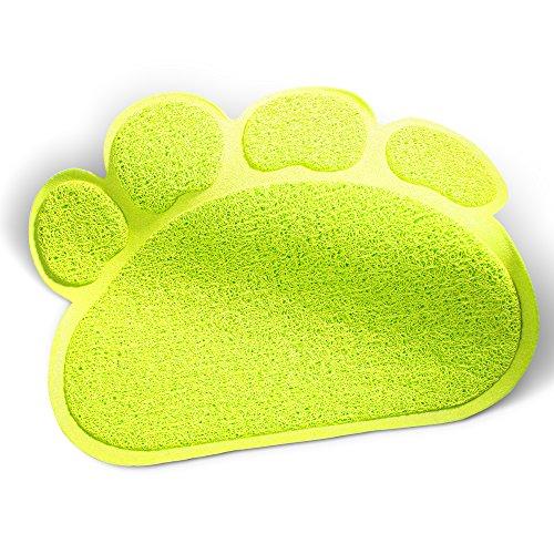 iHOY 猫用トイレマット かわいい肉球型 高品質な猫砂の飛び散り防止 滑り止め機能 お食事マットPVCマット 猫 クッション(L グリーン)