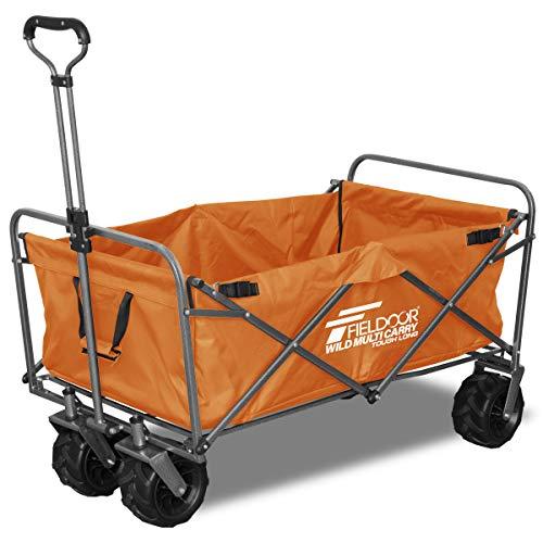 FIELDOOR ワイルドマルチキャリー 【タフロング】 折りたたみ式多用途キャリーカート オレンジ 耐荷重150kg...