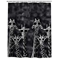 サングラスをかけているキリン シャワーカーテン バスカーテン 防カビ おしゃれ 165x180cm