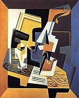 ¥5K-200k 手書き-キャンバスの油絵 - 美術大学の先生直筆 - violin and glass 1918 Juan Gris 絵画 洋画 複製画 ウォールアートデコレーション -サイズ03