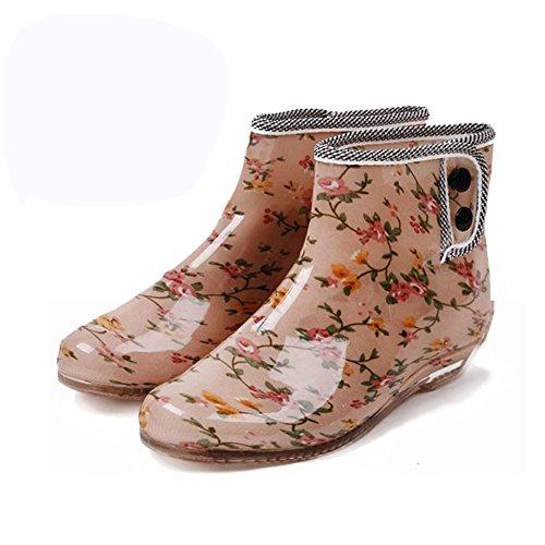 (Wansi) レディース ショート レイン ブーツ レイン ブーツ シューズ レインブーツ 雨靴 長靴 長ぐつ 梅雨対策 滑り止め レインシューズ レイングッズ ビジネス アウトドア おしゃれ 雨靴 花 23.5cm