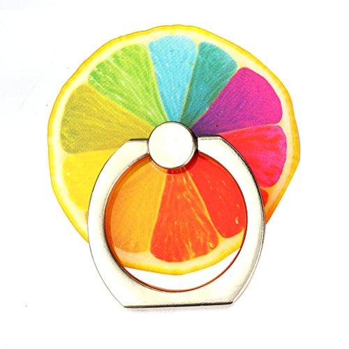 KRY Design By Japanese かわいい フルーツ ホールドリング フィンガーリング 落下防止 スマホリング スタンド機能 (レモン)