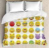 絵文字布団カバーセットby Ambesonne、漫画Like Smiley Faces of Mostersハッピー悲しい怒っFurious Moods式印刷、装飾寝具セット枕のカバー、マルチカラー キング nev_22946_king