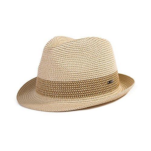 (シッギ)Siggi  おしゃれ パナマハット 中折れハット ストローハット 麦わら帽子 紳士帽子 メンズ 春夏 メッシュ フリーサイズ UV ゴルフ ベージュ 57cm 58cm 59cm