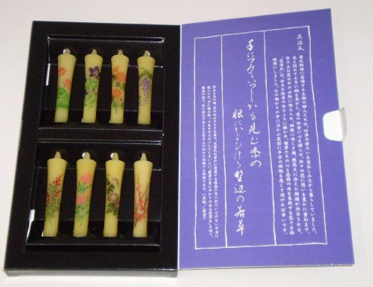 むさぼり食うケイ素敬意を表して東海製蝋 花源氏 絵ローソクセット アソート8本 149-11