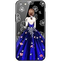 """iPhone 6プラスケース、iPhone 6s plusケース、5.5""""、プレミアムTPU、プレミアム強化ガラス、ダブルドロップ保護、漫画の女の子 - 赤いドレス"""