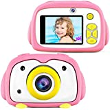BlueFire Kids Camera 12MP HD Digital Camera for Kids Mini 2 Inch LCD Screen Child Camcorder with Cartoon Penguin Silicone Case & 256M TF Card, Kids(Pink)