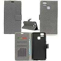 ASUS ZENFONE 3 ZOOM ZE553KL 良質 精巧で美しいです ケース 手帳型 カバー 手帳型 お洒落なカラー オリジナル PUレザー&高品質アンチグレアTPUケースを使用した手帳型PUレザーケース 3枚分の便利なカードケース入れがあり 5.5 インチ (Android One S1, 黒い) (ZOOM-ZE553KL-BZW, 灰色)