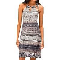 Discount Summer Dresses for Women Clearance Sale,Mini Dresser Organizer,Women Halter Neck Boho Print Sleeveless Casual Mini Beachwear Dress Sundress Khaki