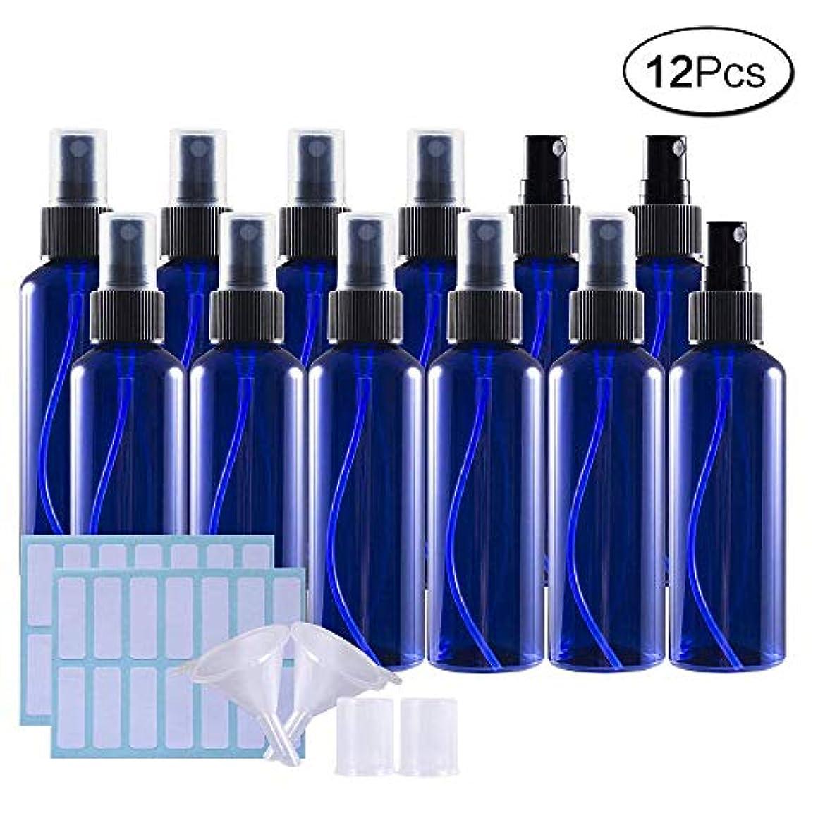 自然公園フォーマット先史時代の100mlスプレーボトル 12個セット遮光瓶 小分けボトル プラスチック容器 液体用空ボトル 化粧品 収納瓶