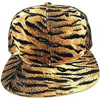 Brown & Gold Tiger Stripes Animal Print Snapback Hat Cap