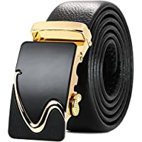 OMIAX Men's Leather Ratchet Designer Belt, Automatic Solid Buckle, Adjustable Belt Without Holes, Comes with Attractive gift box, Length 130cm, Width 3.5cm